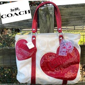 Coach 14544 Heart Sequin Tote Bag Valentines Day